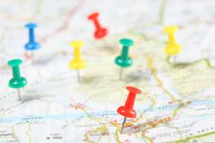 Free Push Pins Fixed In A Road Map With Copy Space For Your Text Stock Image - 166861111