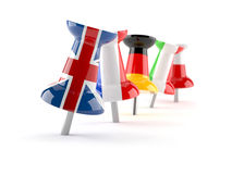 Push pins with flags Stock Image