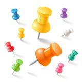 Push pins icons set. Vector illustrations. Push pins icons color set. Vector illustrations Royalty Free Stock Images