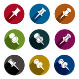 Push pins icons vector set, simplistic symbols vector collection Royalty Free Stock Photo