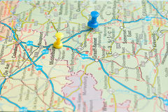 Push pins on a map Royalty Free Stock Photo