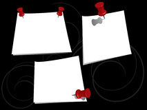 Push pins and notes Royalty Free Stock Photos