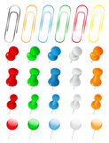 Push Pins and Paper Clips. Set of Vector Push Pins and Paper Clips on white background Royalty Free Stock Photos