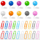 Push Pins and Paper Clips Set. Collection of colorful push pins and paper clips, on white background. Eps file available stock illustration
