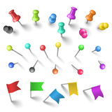Push pins set. In vector stock illustration
