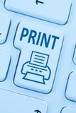 Push print button printing printer blue computer web Stock Photography
