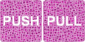 Push and Pull signs in a mosaic of squares Stock Photography