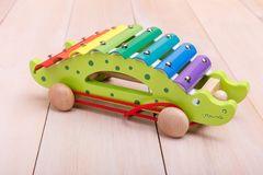 Push Pull Toys. Are made in the form of green car that will be interesting for toddlers stock photos