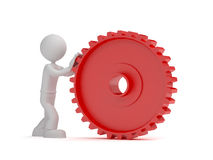 Push red gear Stock Photo