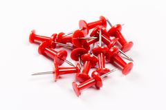 Push red pins isolated on white background. Set of red push pins isolated on white background royalty free stock photography