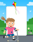 Push Scooter Girl Photo Frame Stock Image