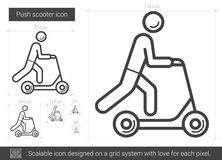Push scooter line icon. Royalty Free Stock Photo