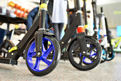 Push Scooters in sport shop Stock Images