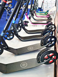 Push Scooters in sport shop Stock Image