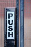 Push sign on gate Royalty Free Stock Images