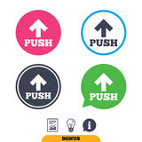 Push sign icon. Press arrow symbol. Royalty Free Stock Photo
