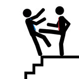 Push on the staps. Vector/illustration. Man push another man down on the stairs Stock Photo