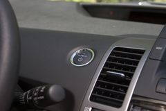 Push Start. The push start button on a hybrid vehicle stock photos