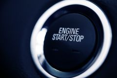 Push Start Car Button. Closeup Photo. Car Ignition Button Royalty Free Stock Image