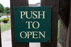 Push to open sign Stock Image