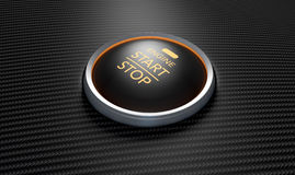 Push To Start Carbon Fibre Button. A closeup of a modern car start and stop button with blue lights on a carbon fibre textured surface Stock Photos