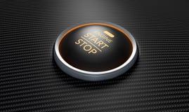 Push To Start Carbon Fibre Button Stock Photos