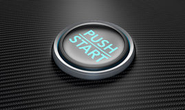 Push To Start Carbon Fibre Button. A closeup of a modern car start and stop button with blue lights on a carbon fibre textured surface Royalty Free Stock Photos