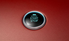 Push To Start Red Leather Button Stock Image