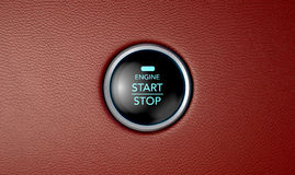 Push To Start Red Leather Button Royalty Free Stock Images