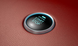 Push To Start Red Leather Button Royalty Free Stock Photo