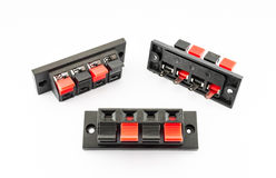 Push Type Speaker Connectors Stock Photography