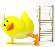 Push up. Little chick exercising by doing push-ups - 3D render stock illustration