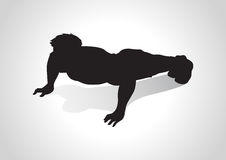 Push Up. Silhouette illustration of a man figure doing push ups royalty free illustration