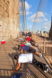 Push-up at Brooklyn Bridge in New Stock Images