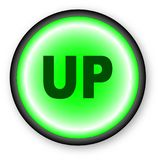 Push Up. A push button with the text up over a white background Stock Photos