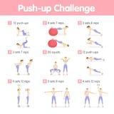 Push up challenge. Stock Photo