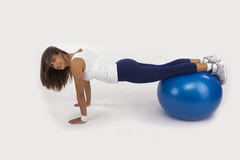 Push Up on an Exercise Ball Stock Photos