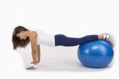 Push Up on an Exercise Ball Stock Image