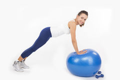 Push Up on an Exercise Ball Stock Photography