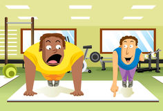 Push-Up Expert. A skinny man showing off his push-up skill to a big man next to him vector illustration
