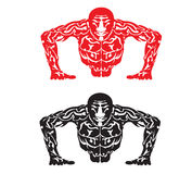 Push Up. Illustration of an abstract male in push up form Royalty Free Stock Photography
