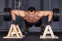 Push up man doing fitness training Stock Photo