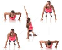 Push Up Variation. Push-up exercise variation. Studio shot over white Royalty Free Stock Photos