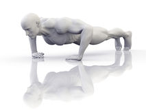 Push up Workout. 3D illustration of athletic man doing push ups on a reflective floor Stock Images