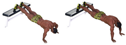 Push ups with feet elevated Royalty Free Stock Image