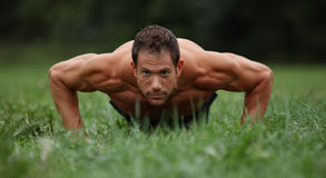 Push ups in the park. Push ups in the grass Royalty Free Stock Photo