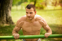Push-Ups In The Park. Young muscle Man doing vertical push-ups in the park Royalty Free Stock Photos