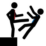 Push. Vector/illustration. Man push another man over the cliff vector illustration