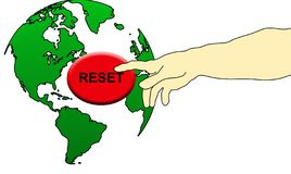 Push the world reset button stock image