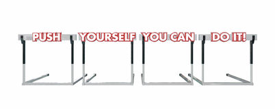 Push Yourself You Can Do It Jumping Hurdles Stock Photos